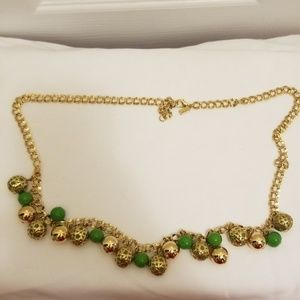 Kate Spade green & gold ball fringe necklace